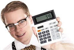 Man with glasses holding calculator